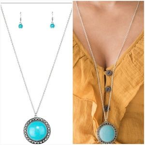 RUN OUT OF RODEO TURQUOISE NECKLACE/EARRING SET
